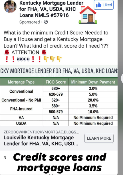 Kentucky Mortgage Requirements for Fico and Credit Scores for FHA, VA, USDA, and Conventional loan programs