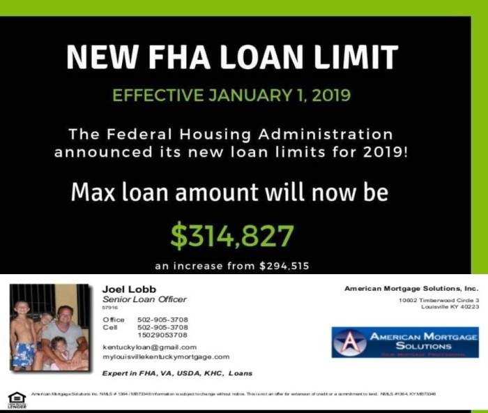 kentucky fha loan limits for 2019 will be $314,827