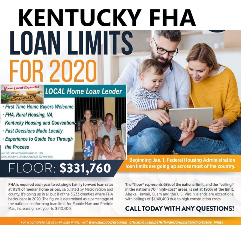 Kentucky FHA loan limits for 2020 is set at $331,760.00